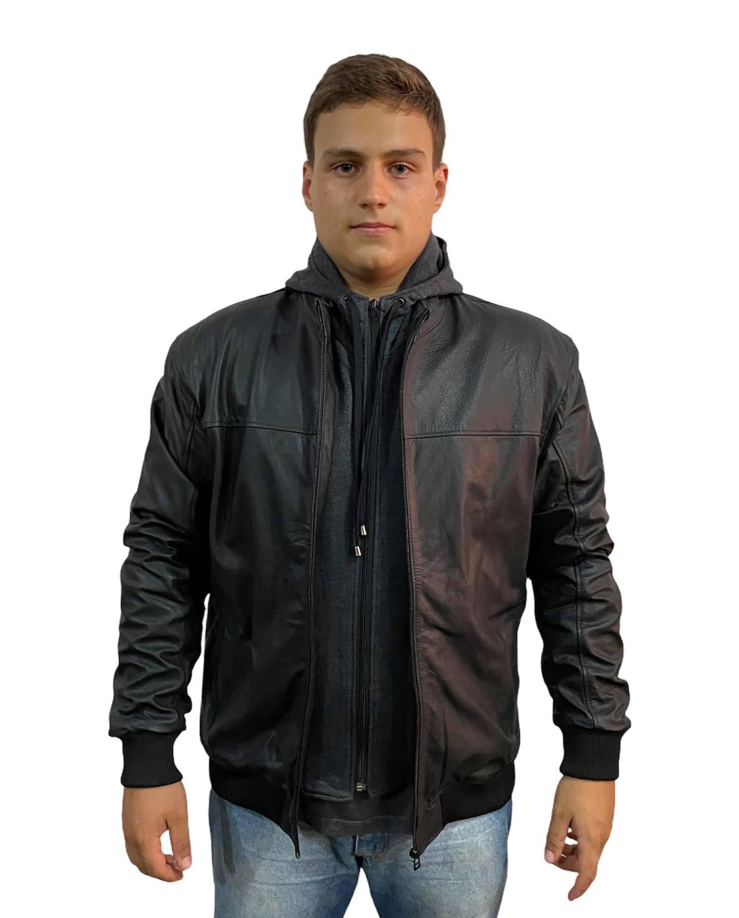 Jaqueta Masculina Prata Couro VEST 775 Preta com Capuz Plus Size