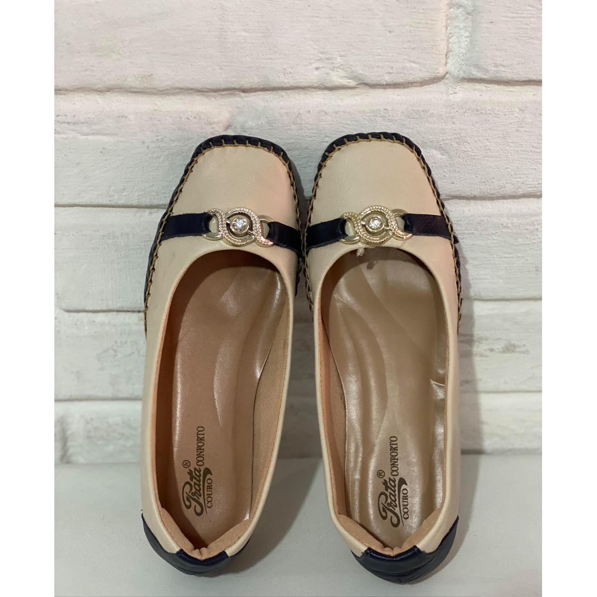 Mule Feminino Prata Couro Confort 1011080 Marfim/Marinho