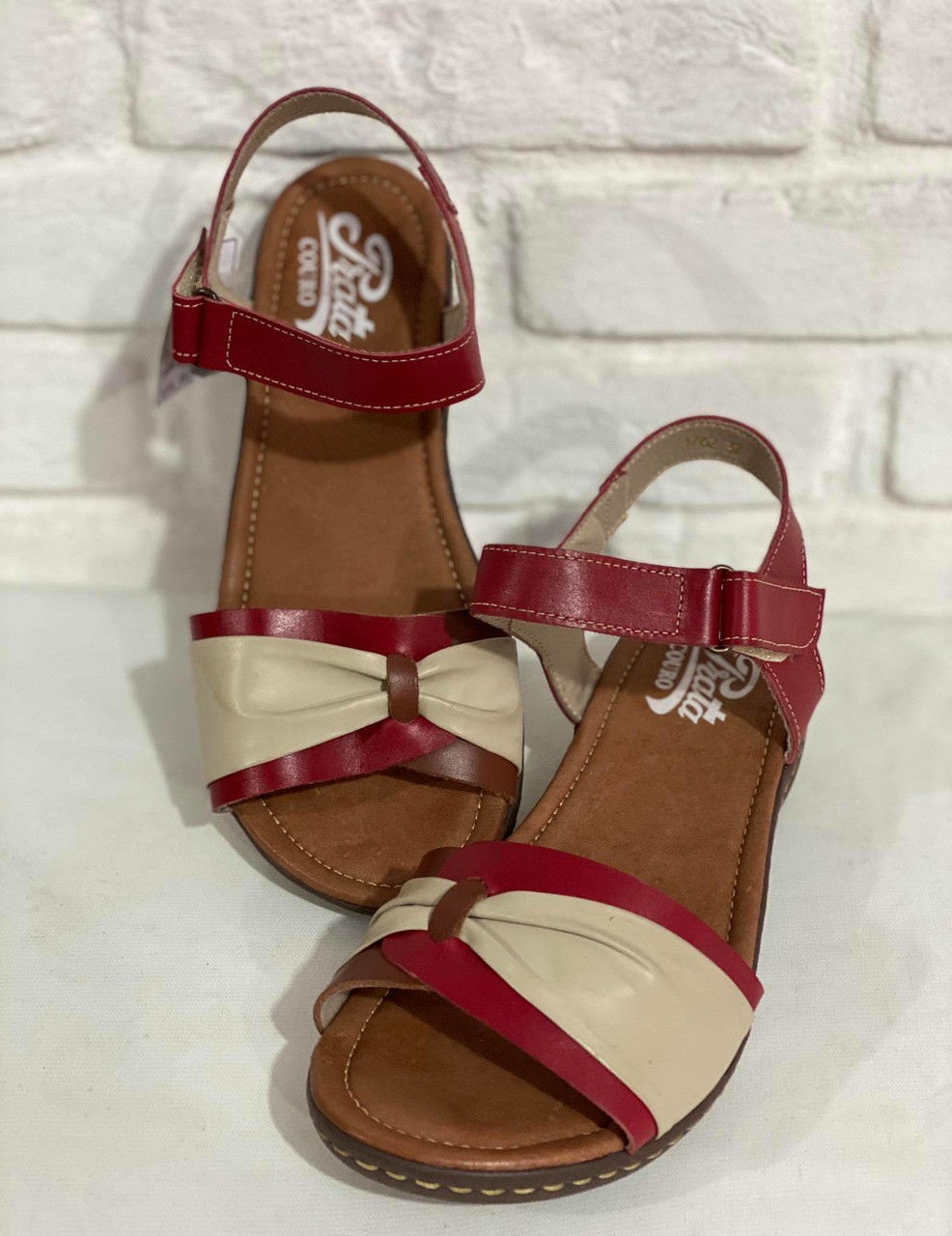 Sandália  Feminina 1010337 Vermelha/Marfim