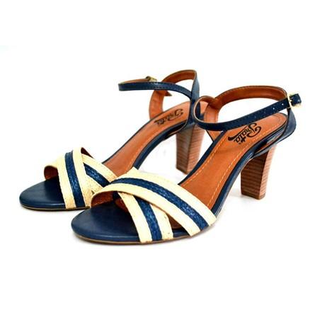 Sandália Prata Couro 1011 Azul Marinho