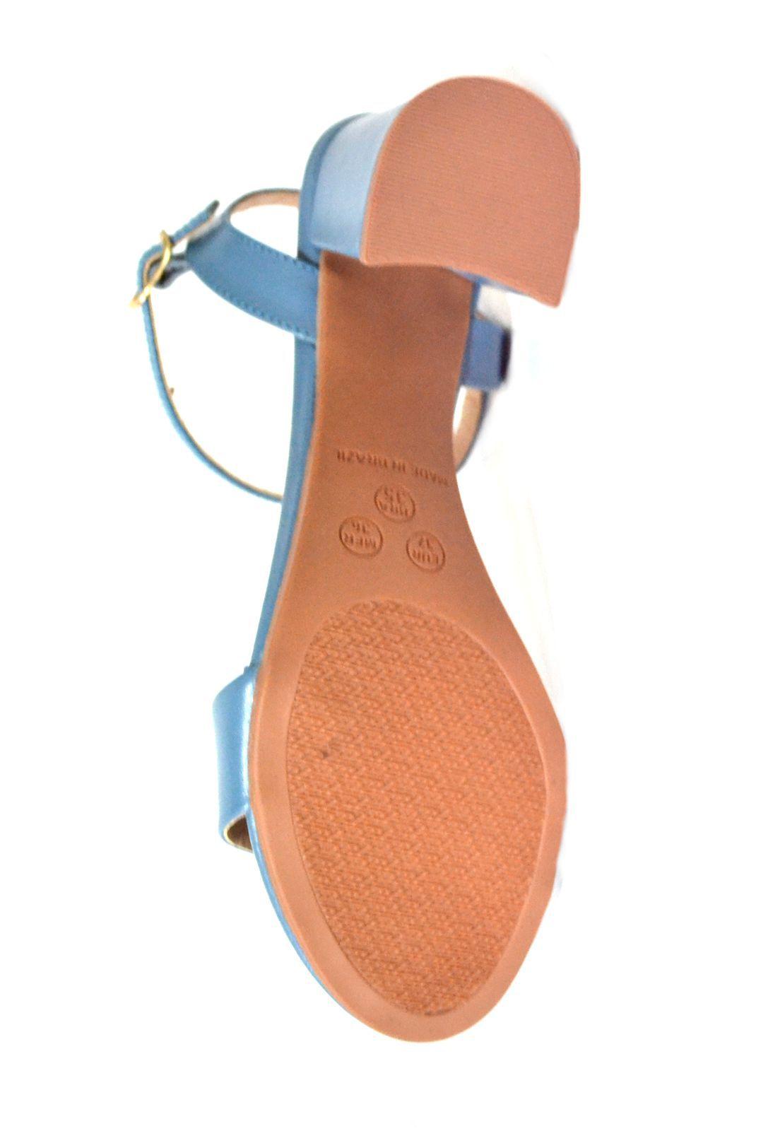 Sandália Prata Couro  de Salto 1010208 Azul