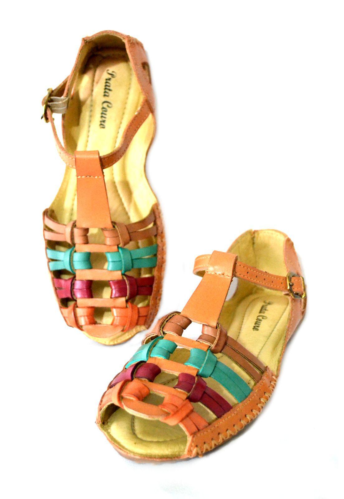 Sandália Prata Couro  Telha Color 1010120