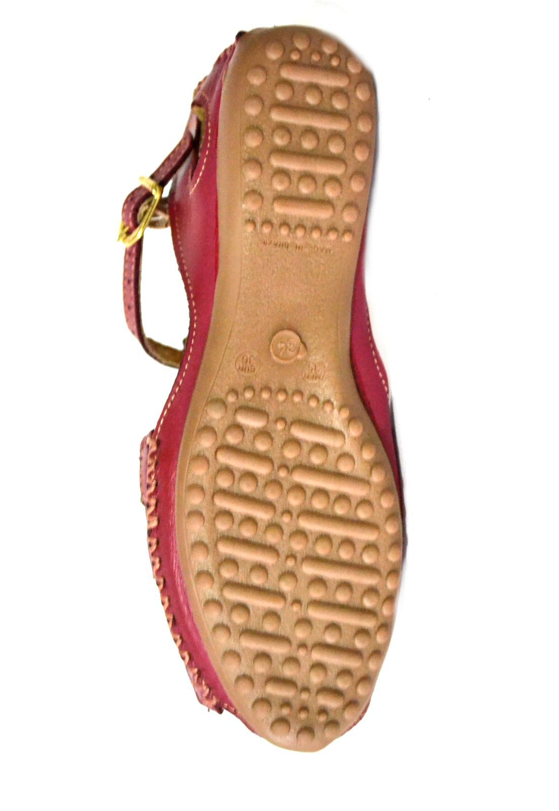 Sandália Prata Couro Vermelha color 1009335