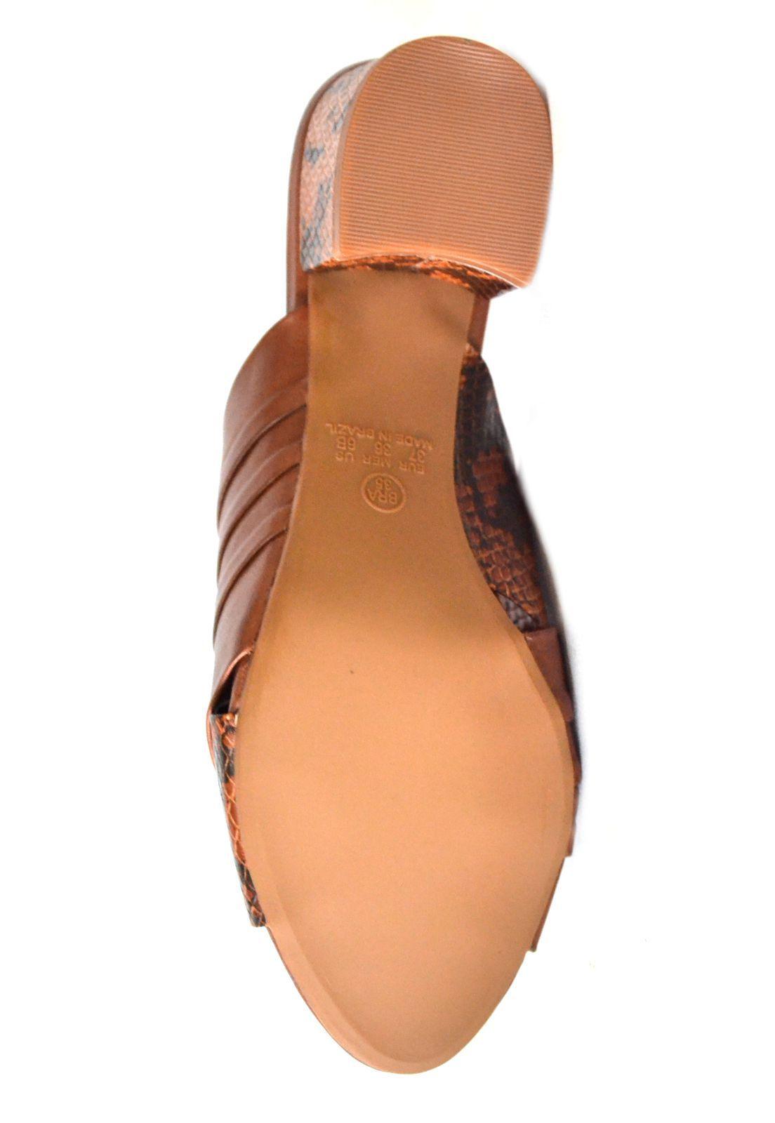 Sandália/Tamanco Feminino Prata Couro  de Salto 1009932 Whisky