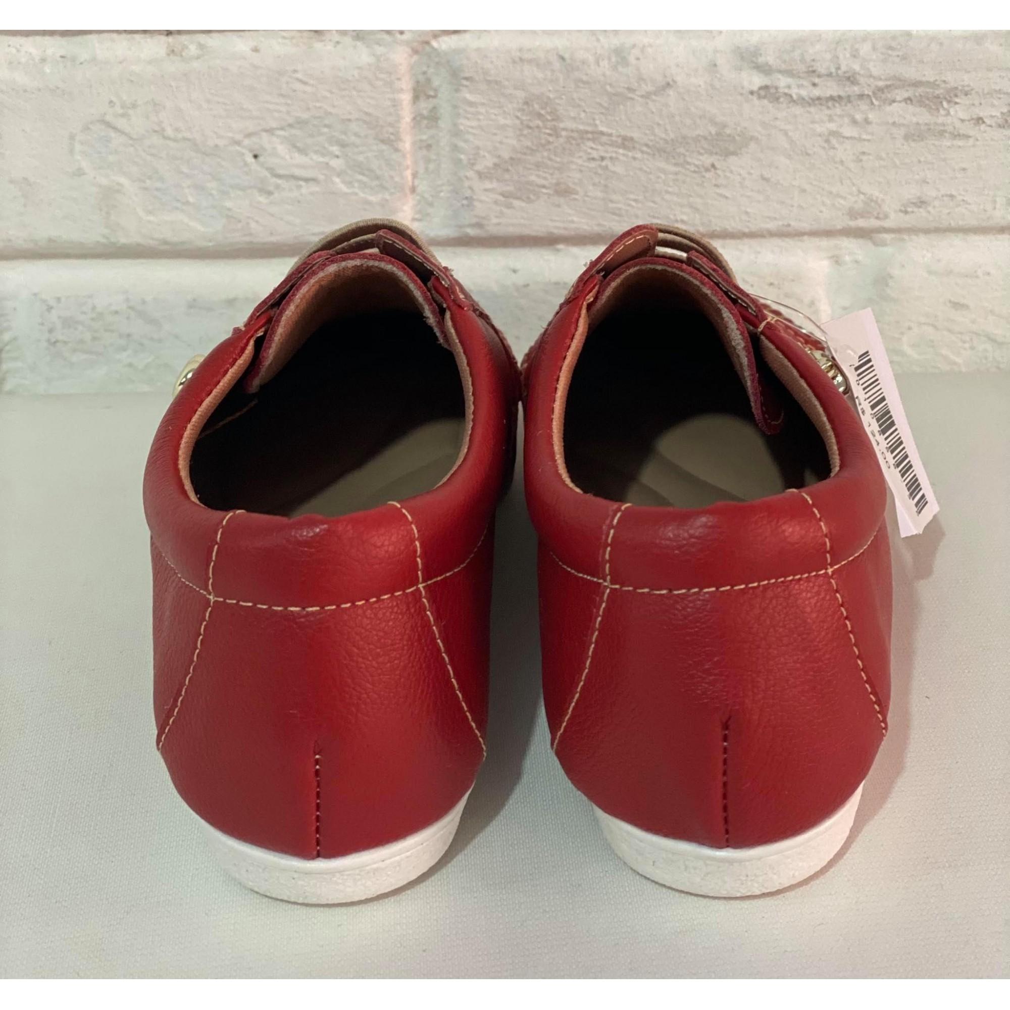 Sapatênis Confort Prata Couro 1010858 Vermelho