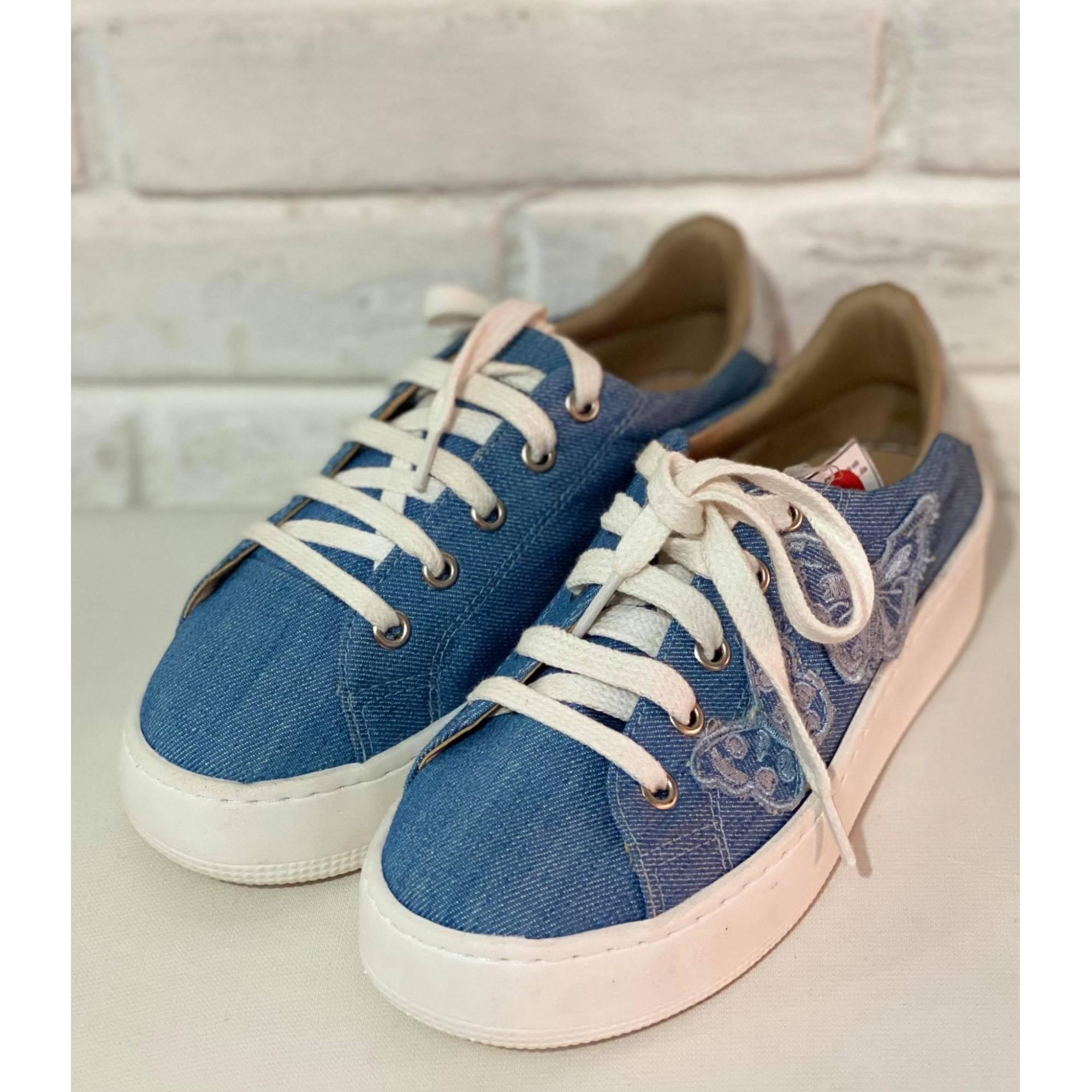 Sapatênis Feminino Prata Couro 5480  Jeans