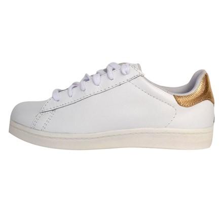 Sapatênis Prata Couro Branco/Ouro