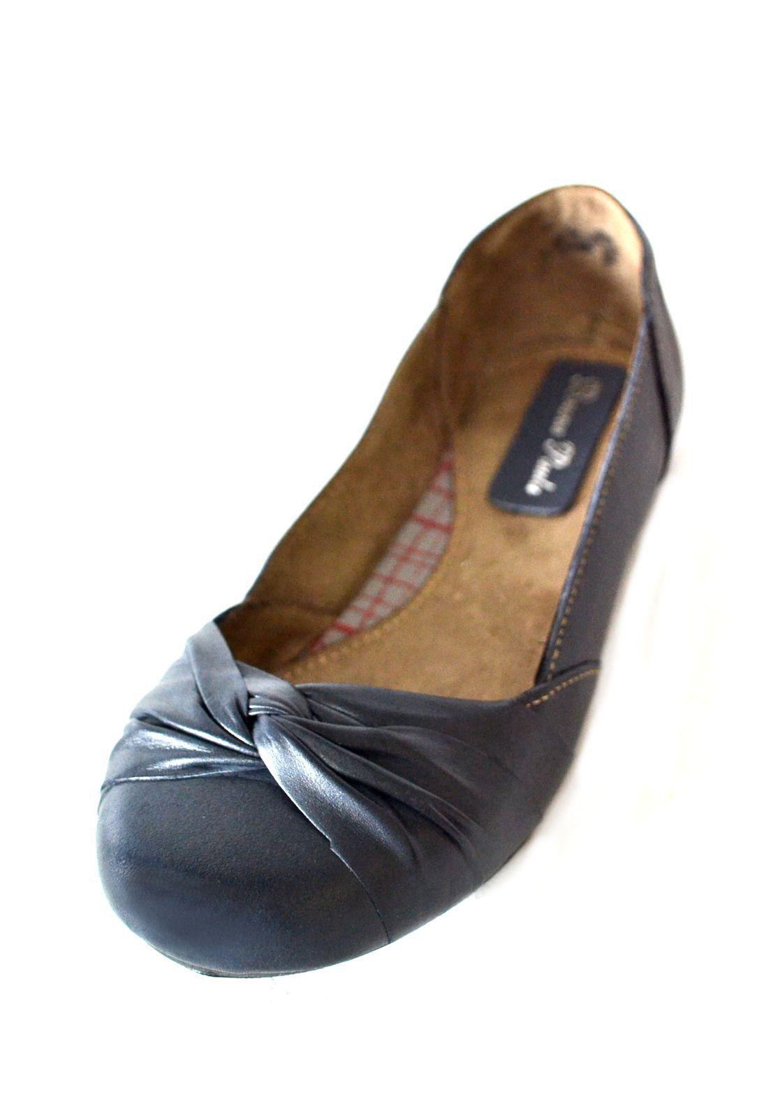 Sapatilha de   Boneca Prata Couro 1010193 Azul