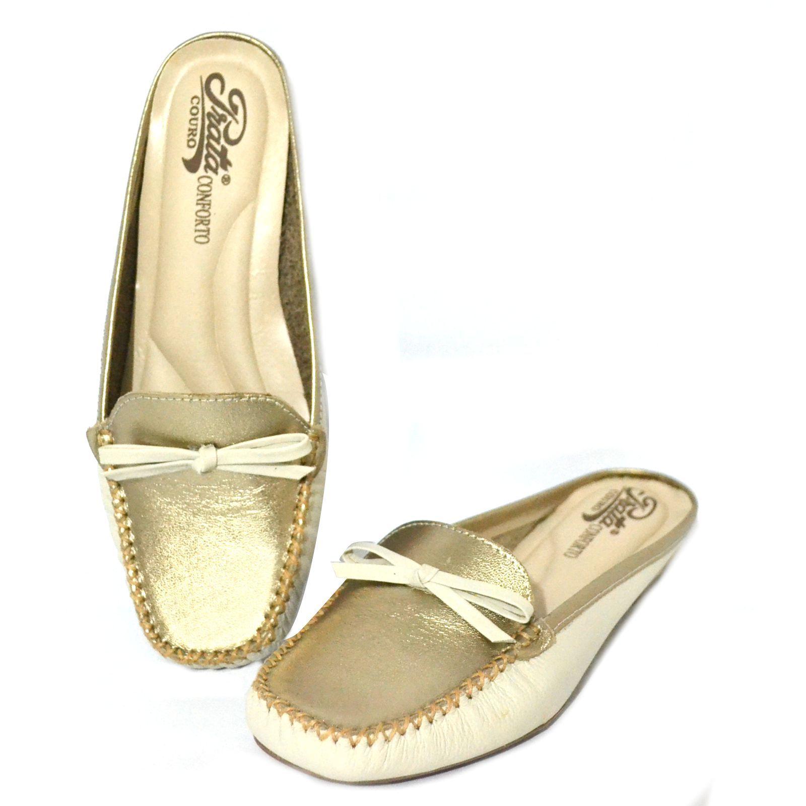 Mule  Feminino Prata Couro Confort 1009625 Marfin/ Prata Velho