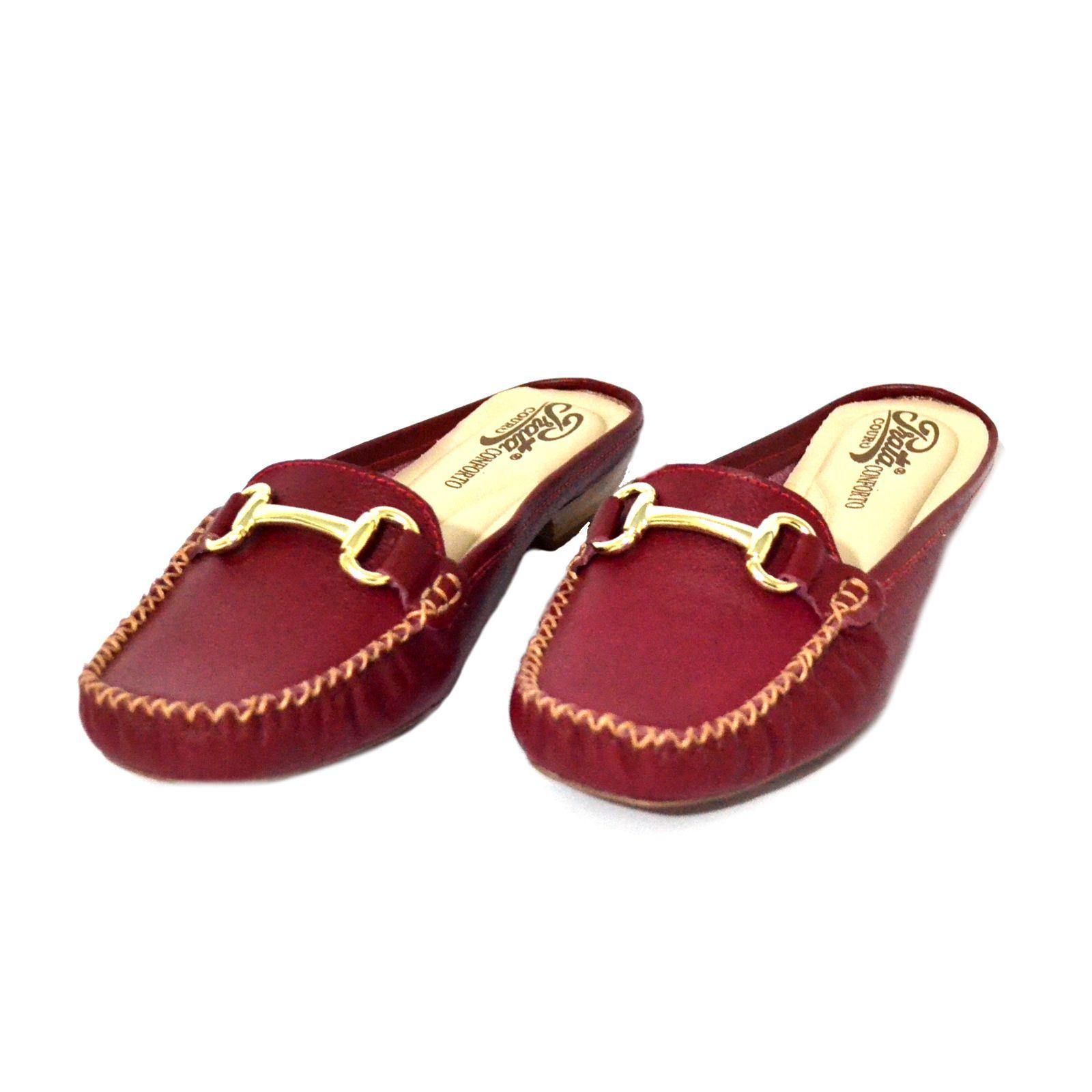 Mule Feminino  Prata Couro Confort 1009626 Vermelho