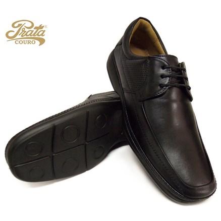 Sapato com Amarra Prata Couro em Pelica 3294 Preto