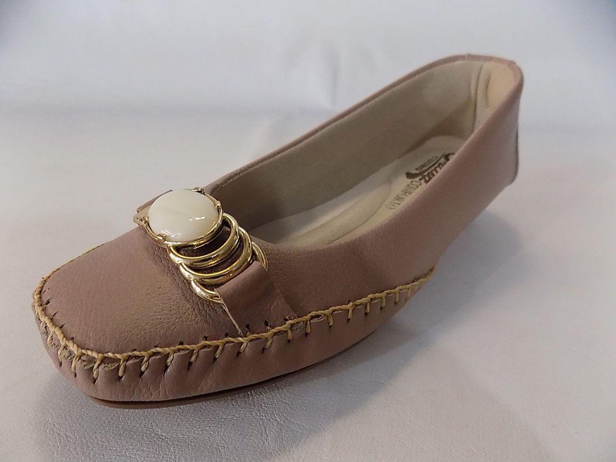 Sapato Conforto Prata Couro 1009332 Nude