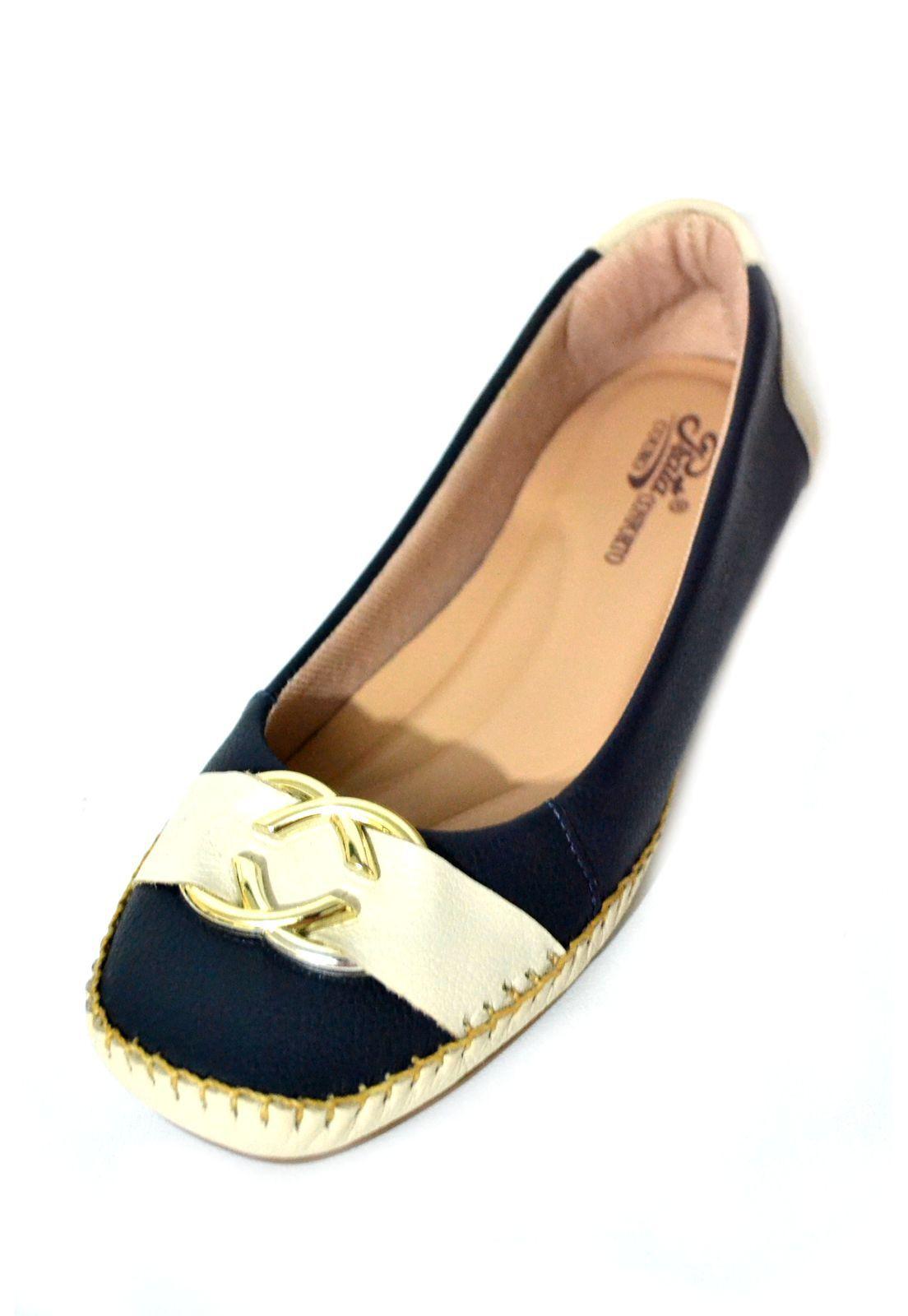 Sapato Feminino  Conforto Prata Couro 1010016 Marinho