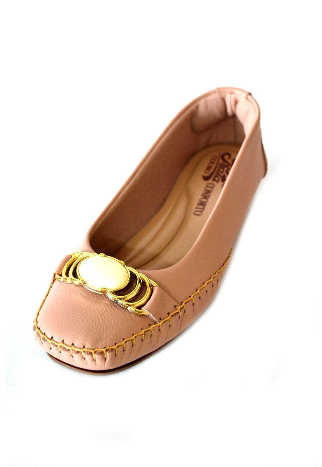 Sapato Feminino  Prata Couro Conforto 1009332 Nude