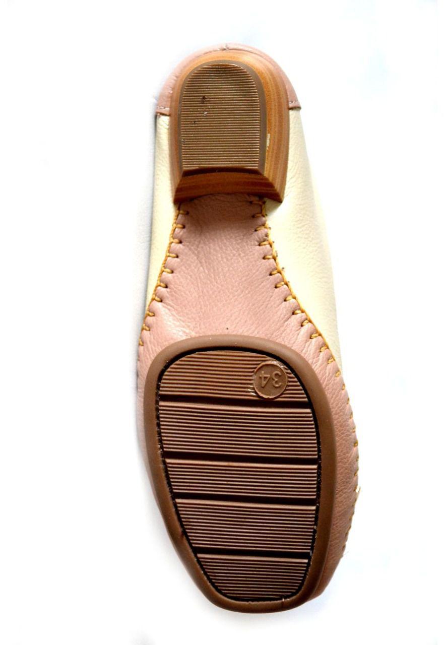 Sapato Feminino  Prata Couro Conforto 1009806 Marfim/Nude