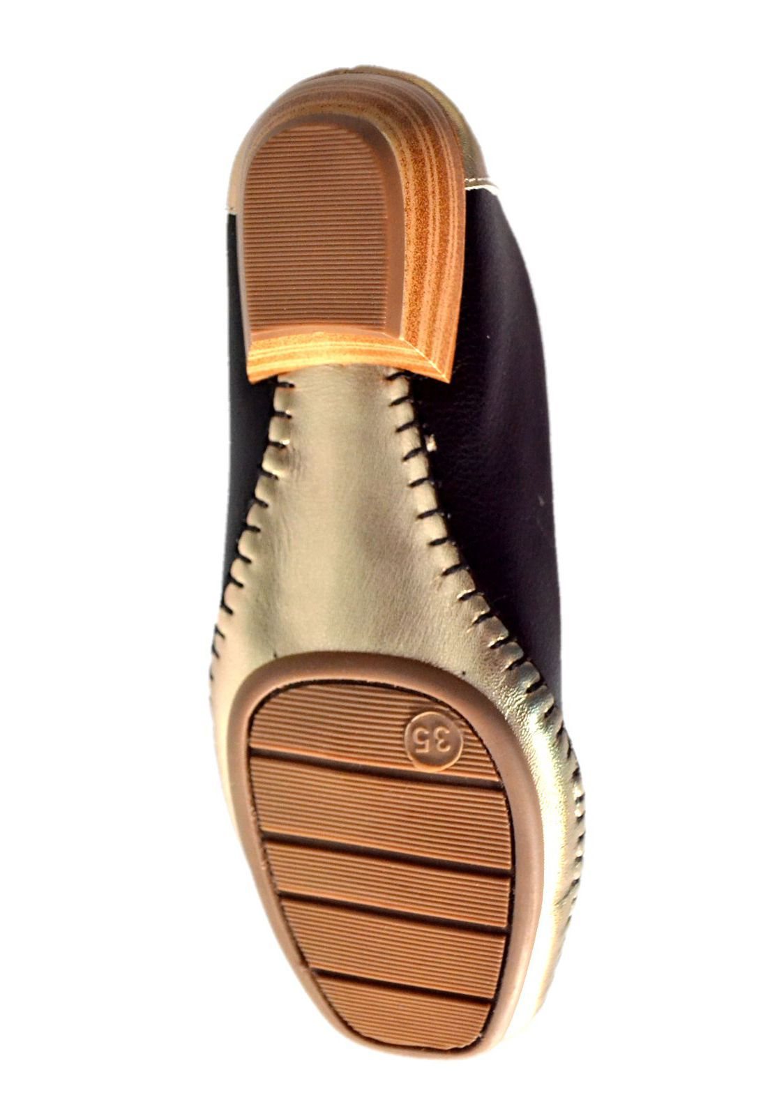 Sapato Feminino  Prata Couro Conforto 1009807 Preto/Prata Velho