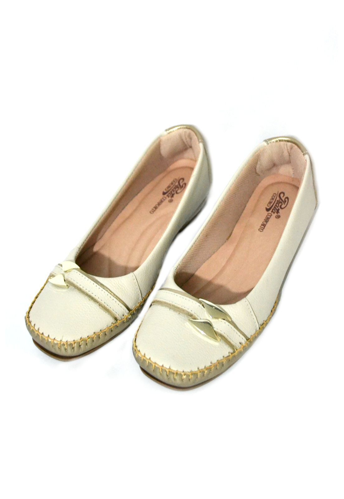 Sapato Feminino  Prata Couro Conforto 1009808 Marfim /Prata Velho