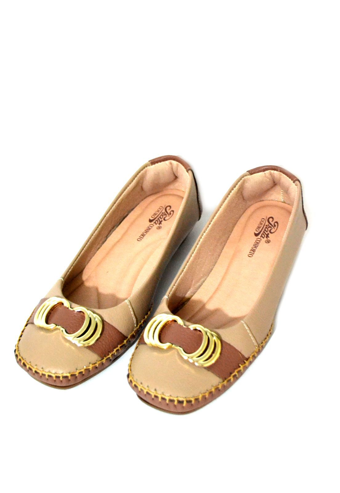 Sapato Feminino  Prata Couro Conforto 1009811 Bege