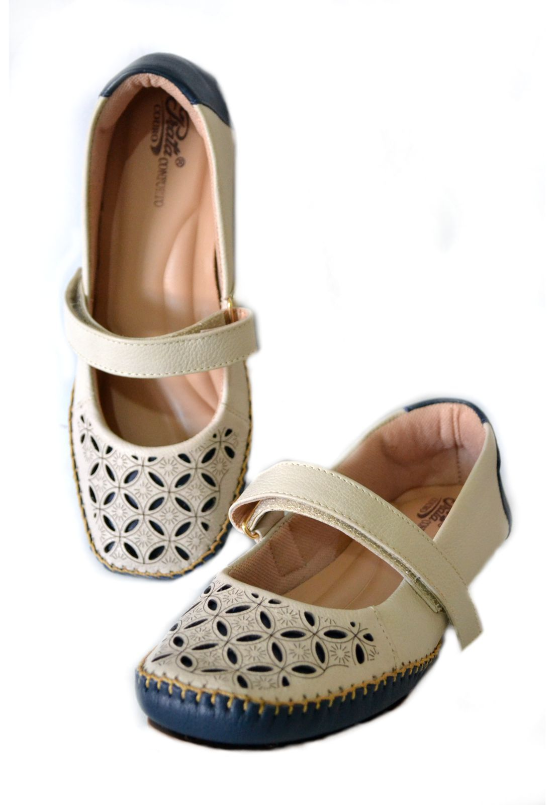 Sapato Feminino  Prata Couro Conforto 1010041 Marfim/marinho