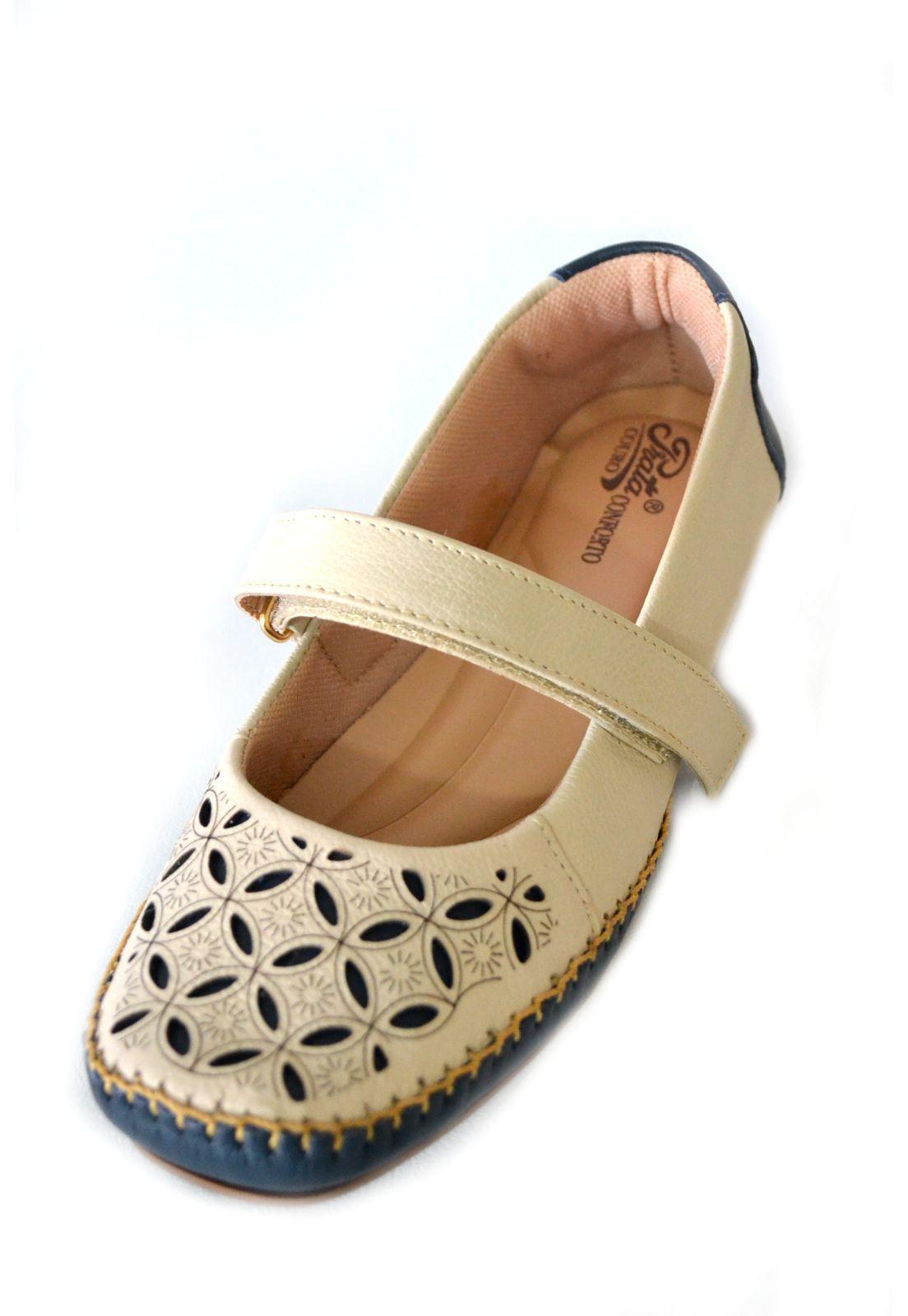 Sapato Feminino  Prata Couro Conforto 1010040 Marfim/marinho