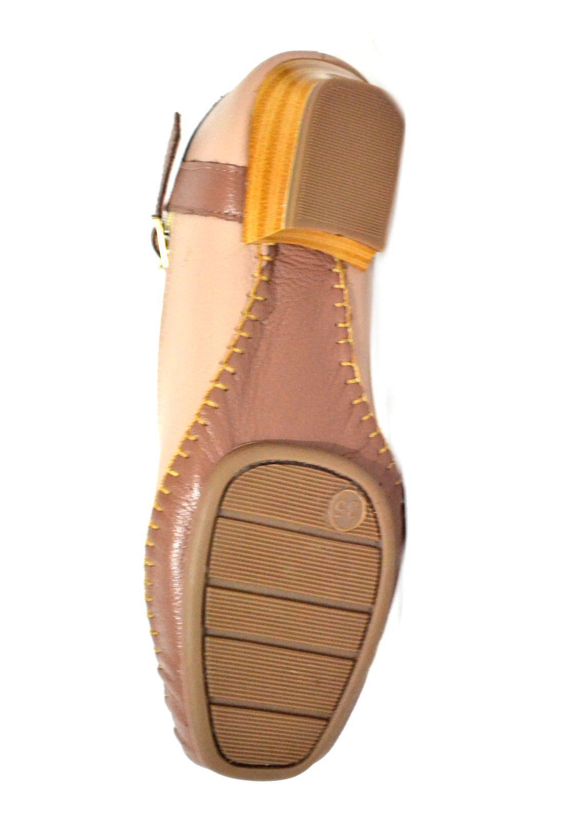 Sapato Feminino  Prata Couro Conforto 1010041 Nude/Conhaque