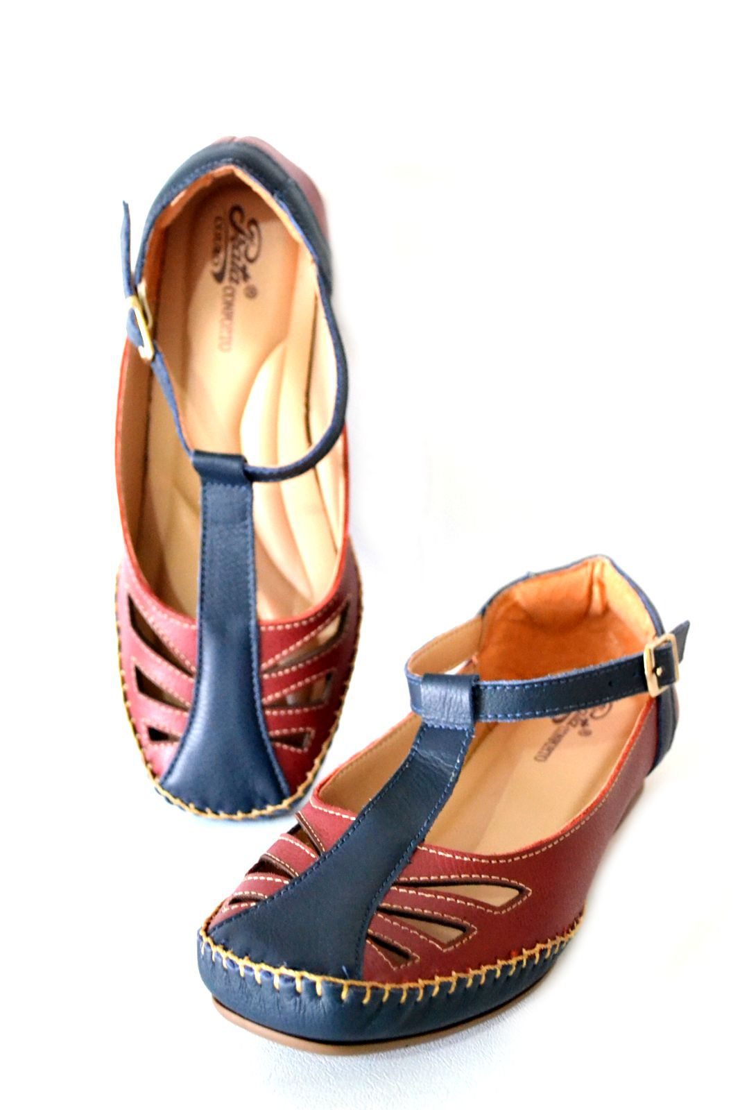 Sapato Feminino  Prata Couro Conforto 1010042 Vermelho/Marinho