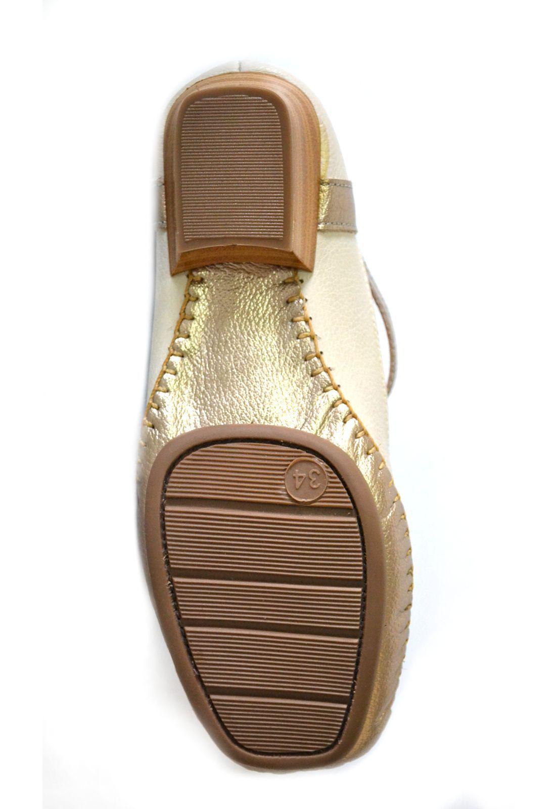 Sapato Feminino  Prata Couro Conforto 1010043 marfim /Prata Velho