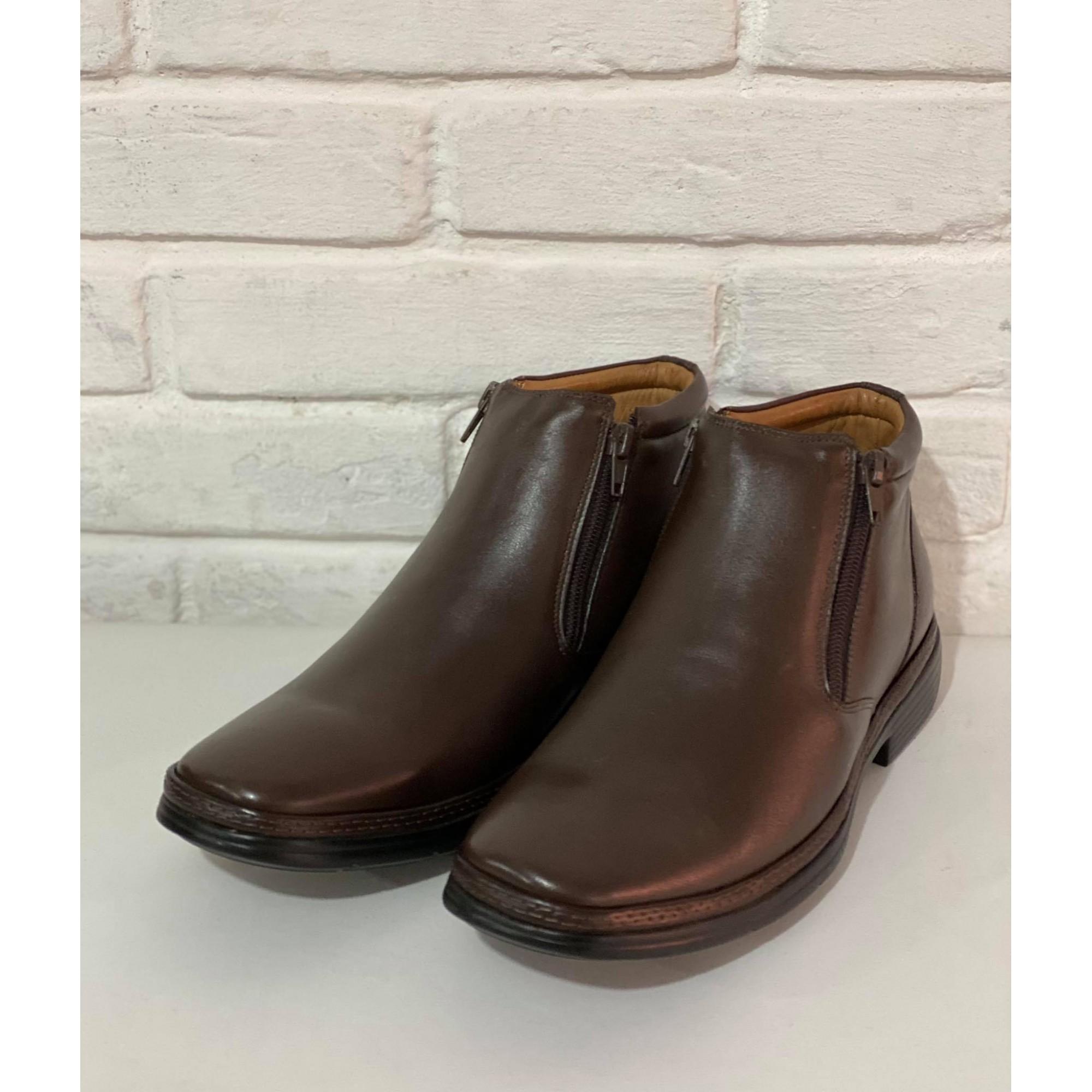 Sapato Masculino Anatomic Gel Mestiço Dark Brown Sola Ultraleve 1010826