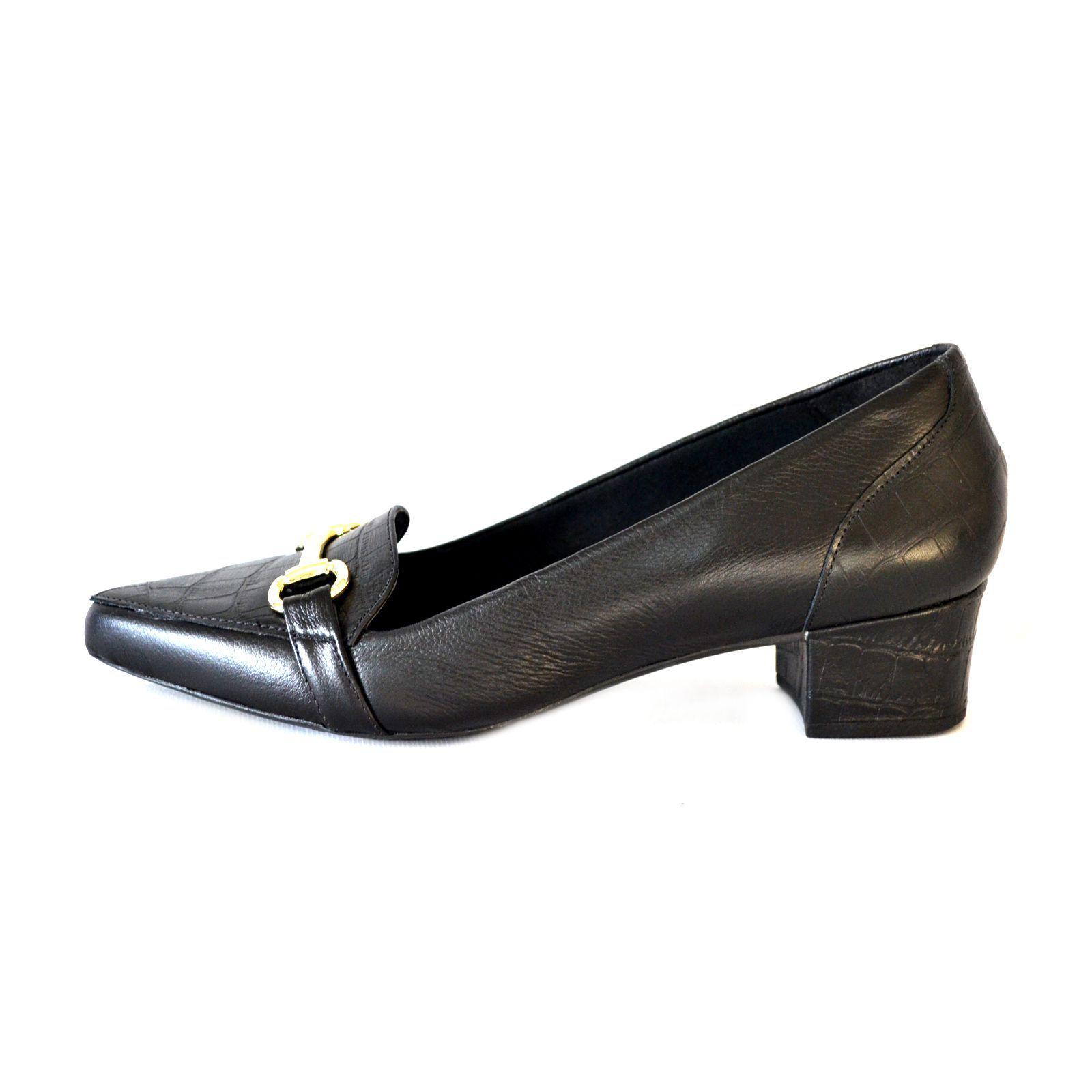 Sapato Feminino   Prata Couro 1009800 Preto