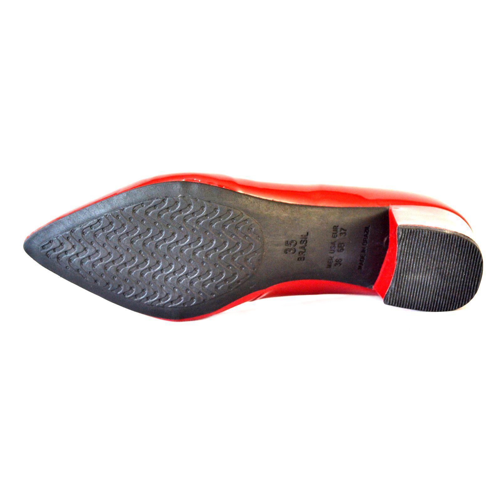 Sapato Feminino   Prata Couro 1009803 Vermelho/Verniz
