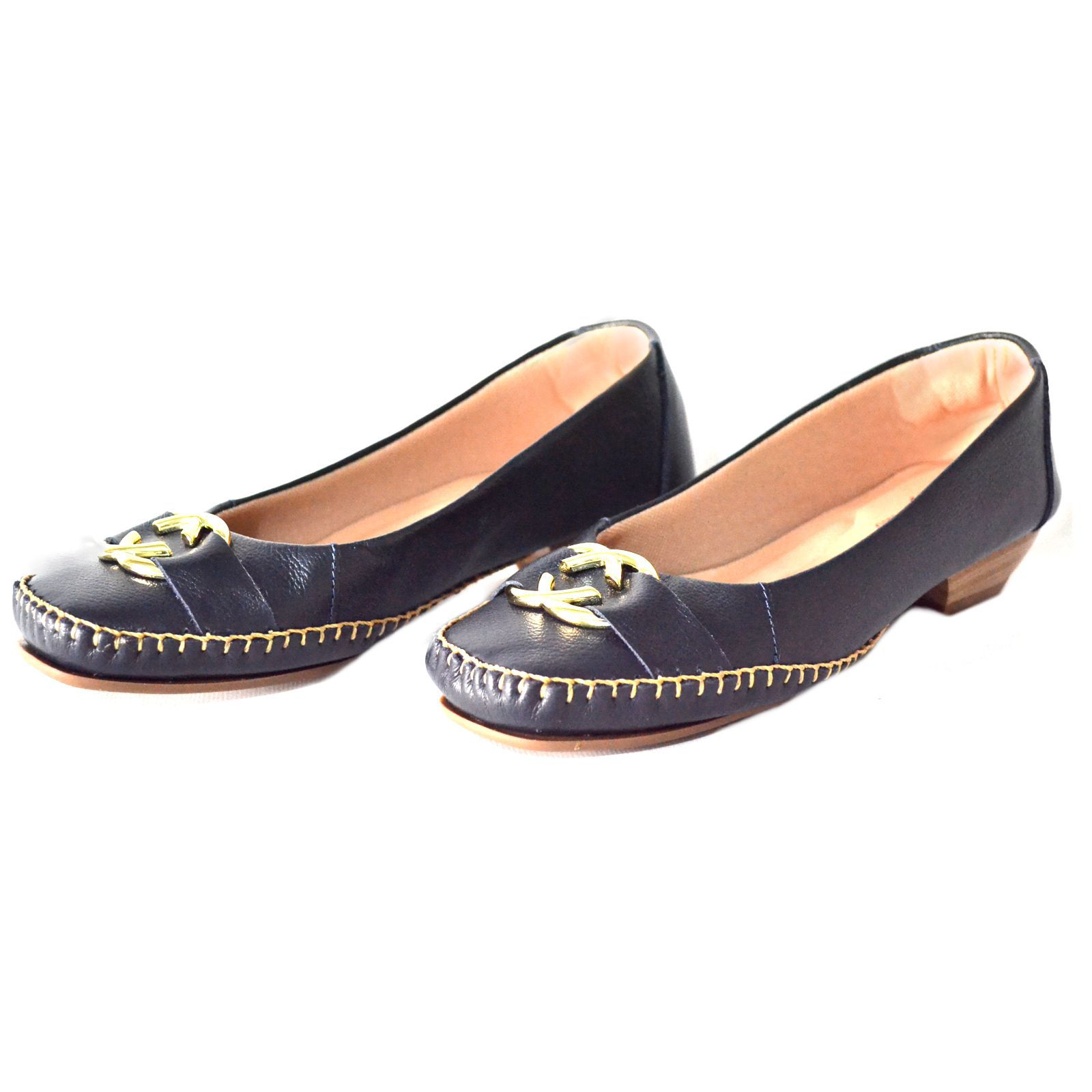Sapato Prata Couro Conforto 1009809 Marinho