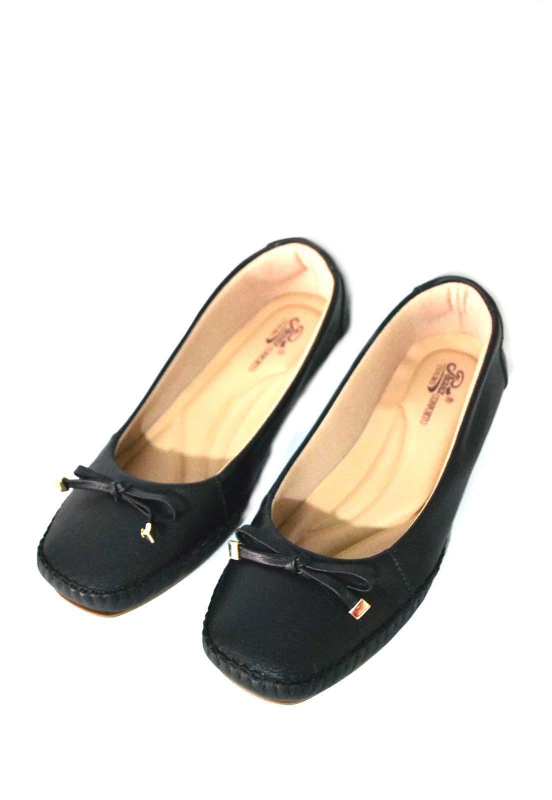 Sapato Feminino Prata Couro Conforto 1009804 Preto