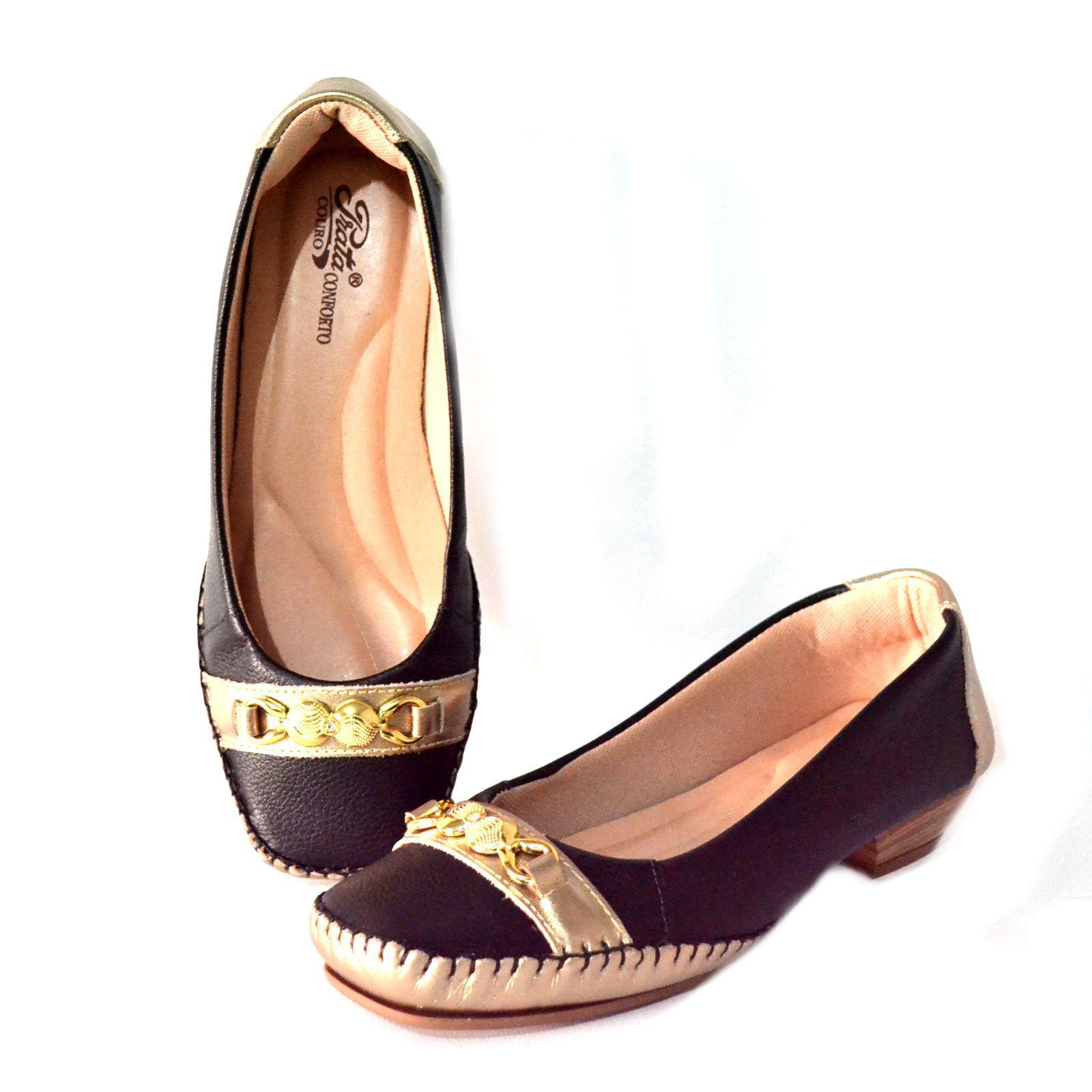 Sapato Prata Couro Conforto 1009807 Preto/Prata Velho