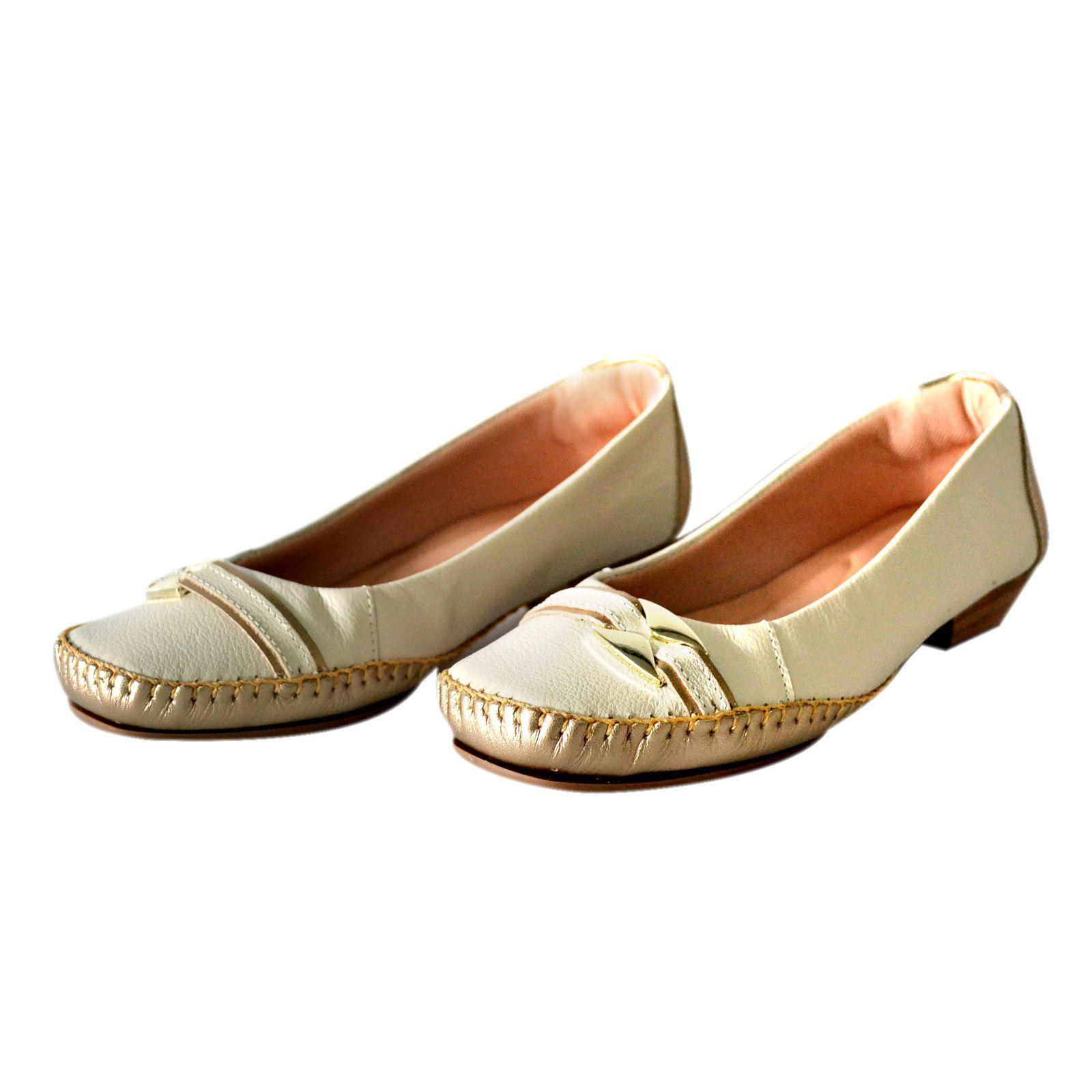 Sapato Prata Couro Conforto 1009808 Marfim /Prata Velho