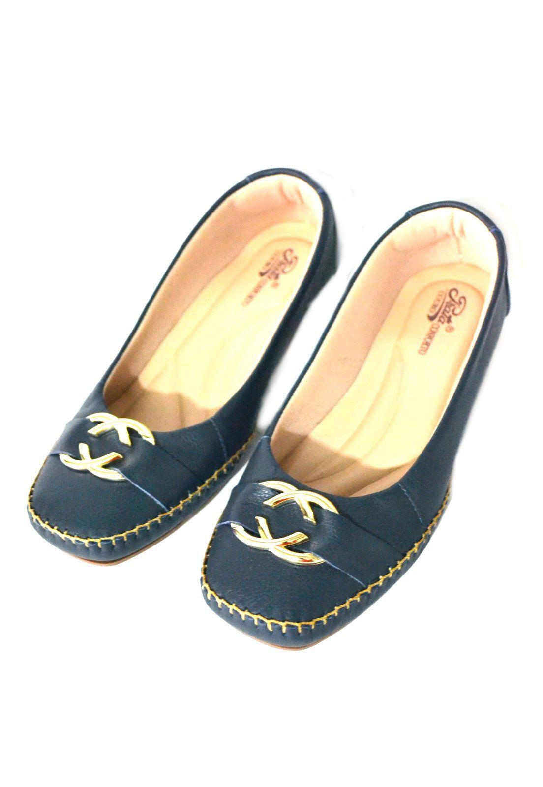 Sapato Feminino  Prata Couro Conforto 1009809 Marinho