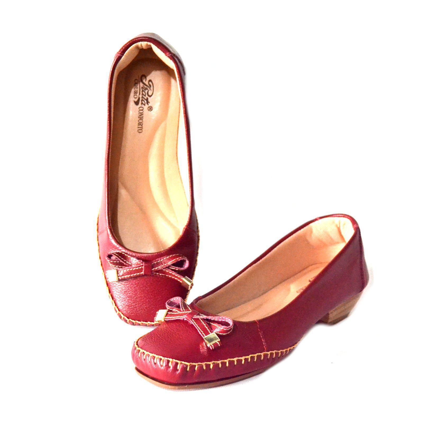 Sapato Feminino  Prata Couro Conforto 1009810 Vermelho