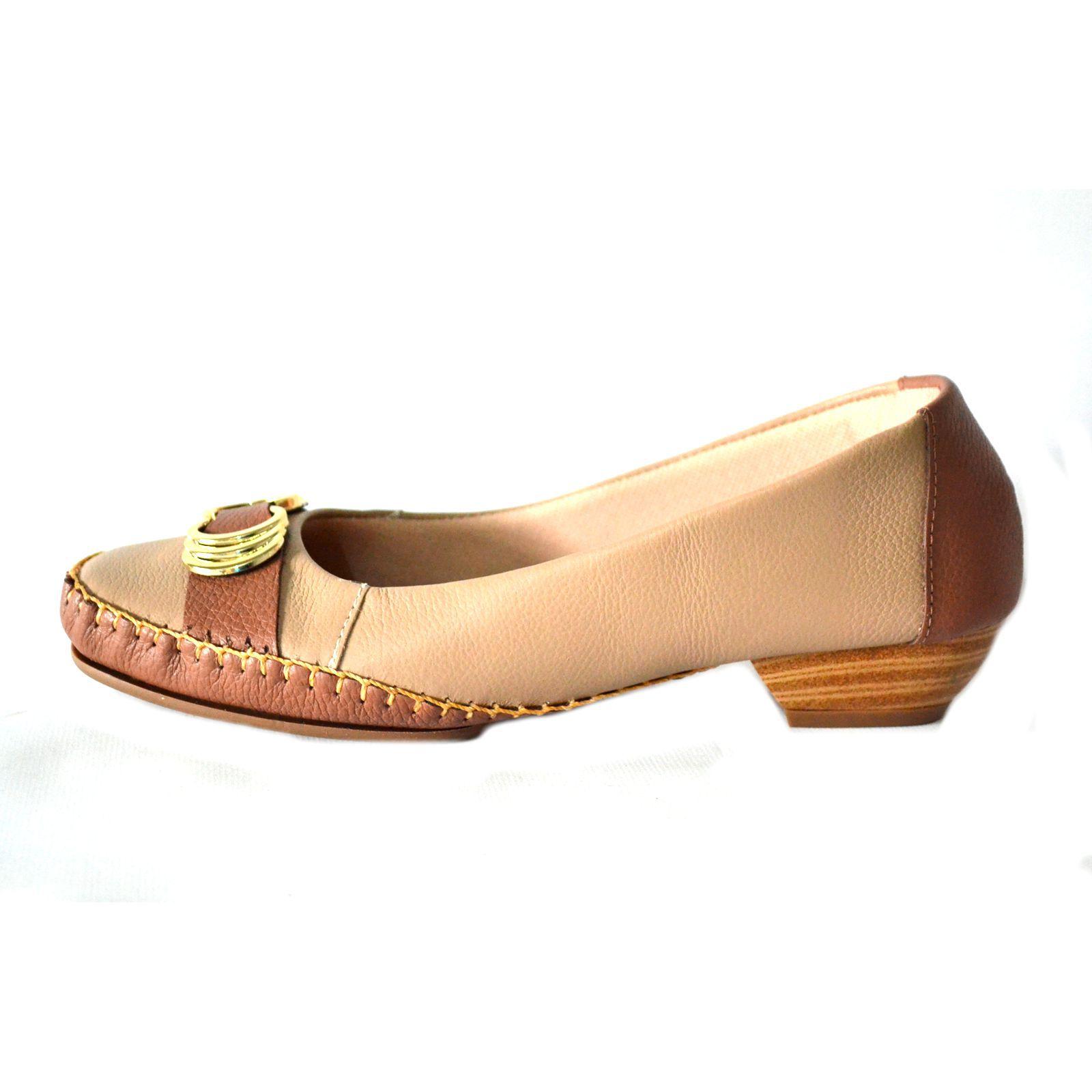 Sapato Prata Couro Conforto 1009811 Bege
