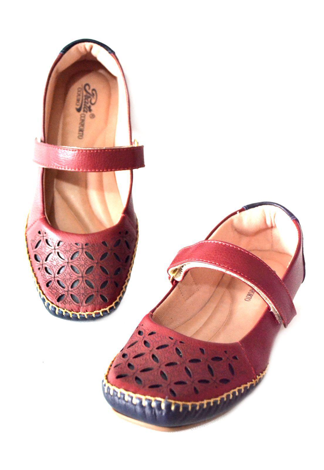 Sapato Prata Couro Conforto 1010451 Vermelho/Marinho