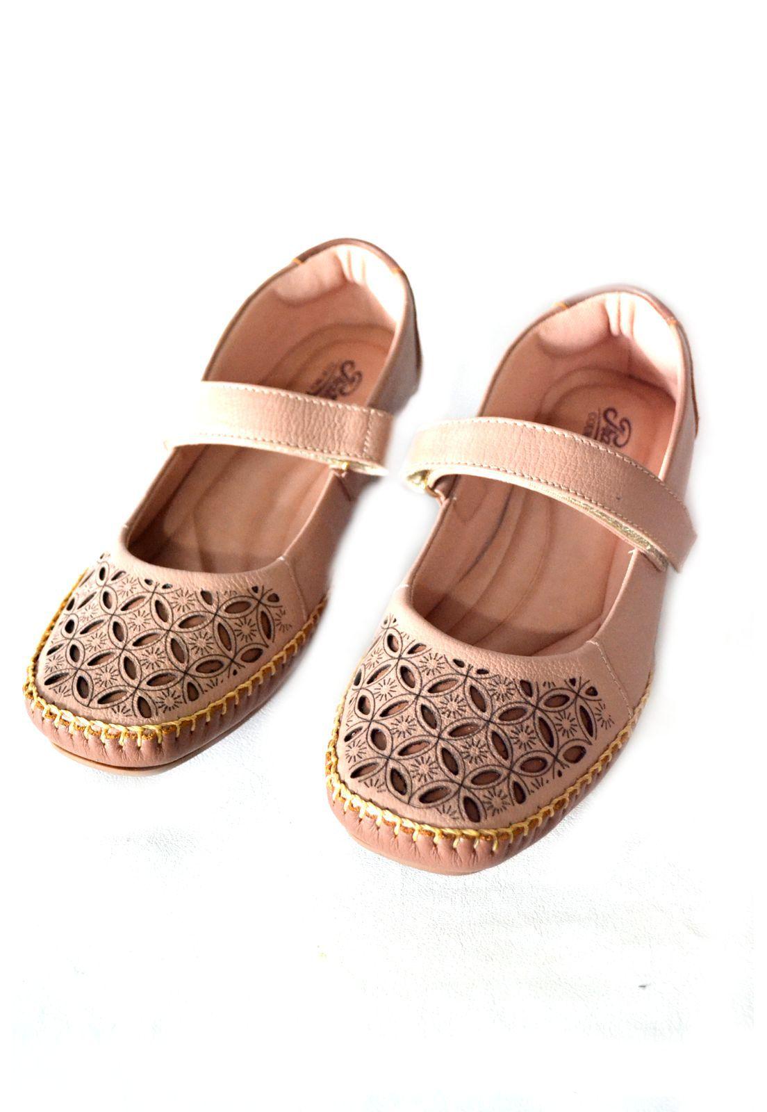 Sapato Prata Couro Conforto 1010452 Nude/Conhaque