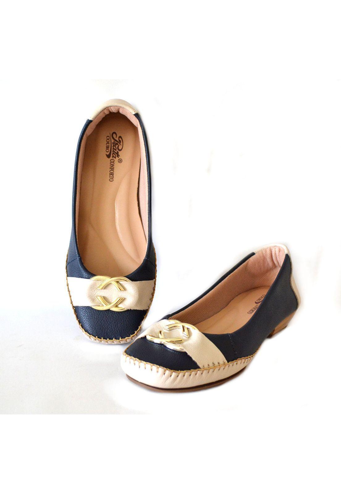 Sapato Prata Couro Conforto Marinho/Marfim 1009596