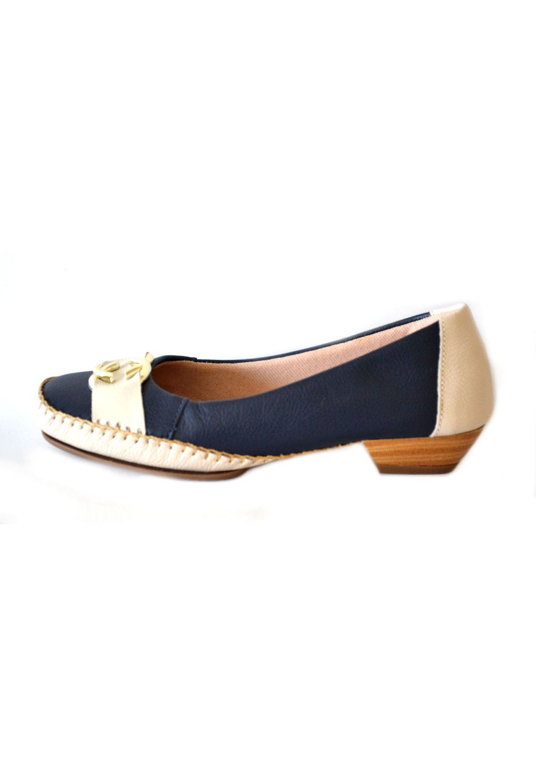 Sapato Feminino  Prata Couro Conforto 1009596 Marinho/Marfim