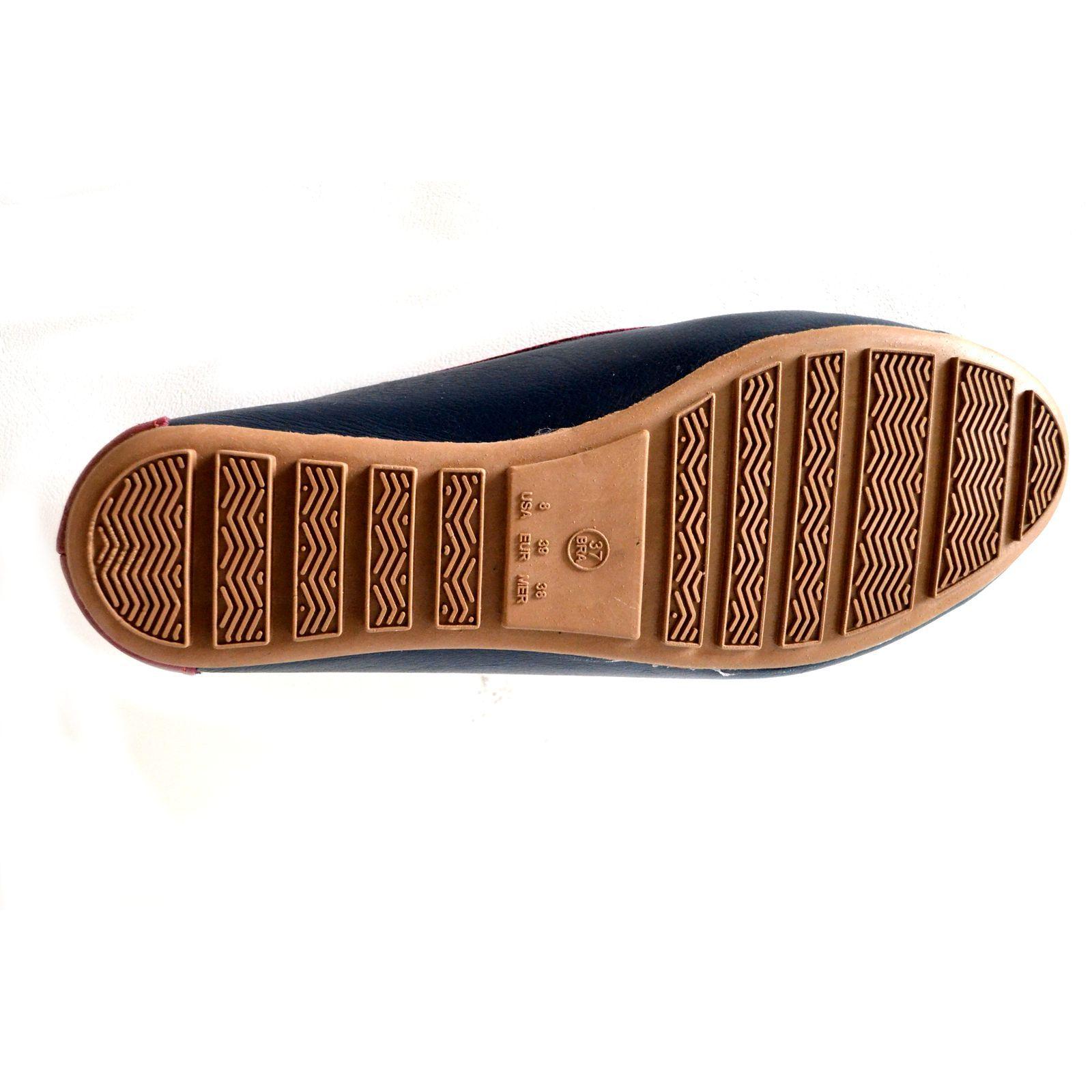 Sapatos Mocassim Prata Couro 1009881 Marinho/Vermelho