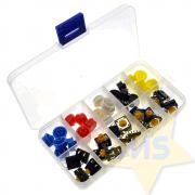 Kit Chave Táctil Push Button com Capas Coloridas