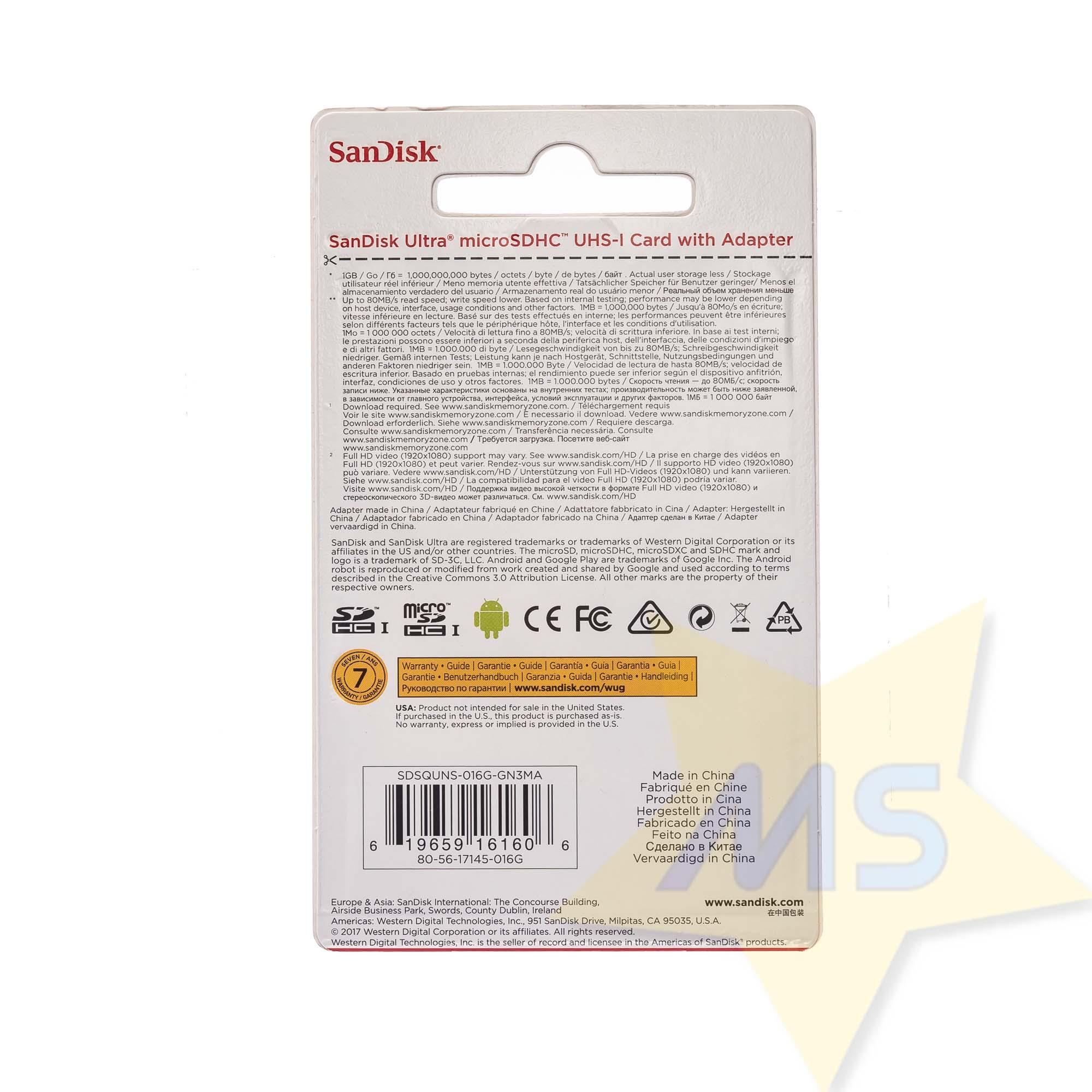 Cartão Micro Sdhc 16gb Ultra Sd Sandisk Classe 10