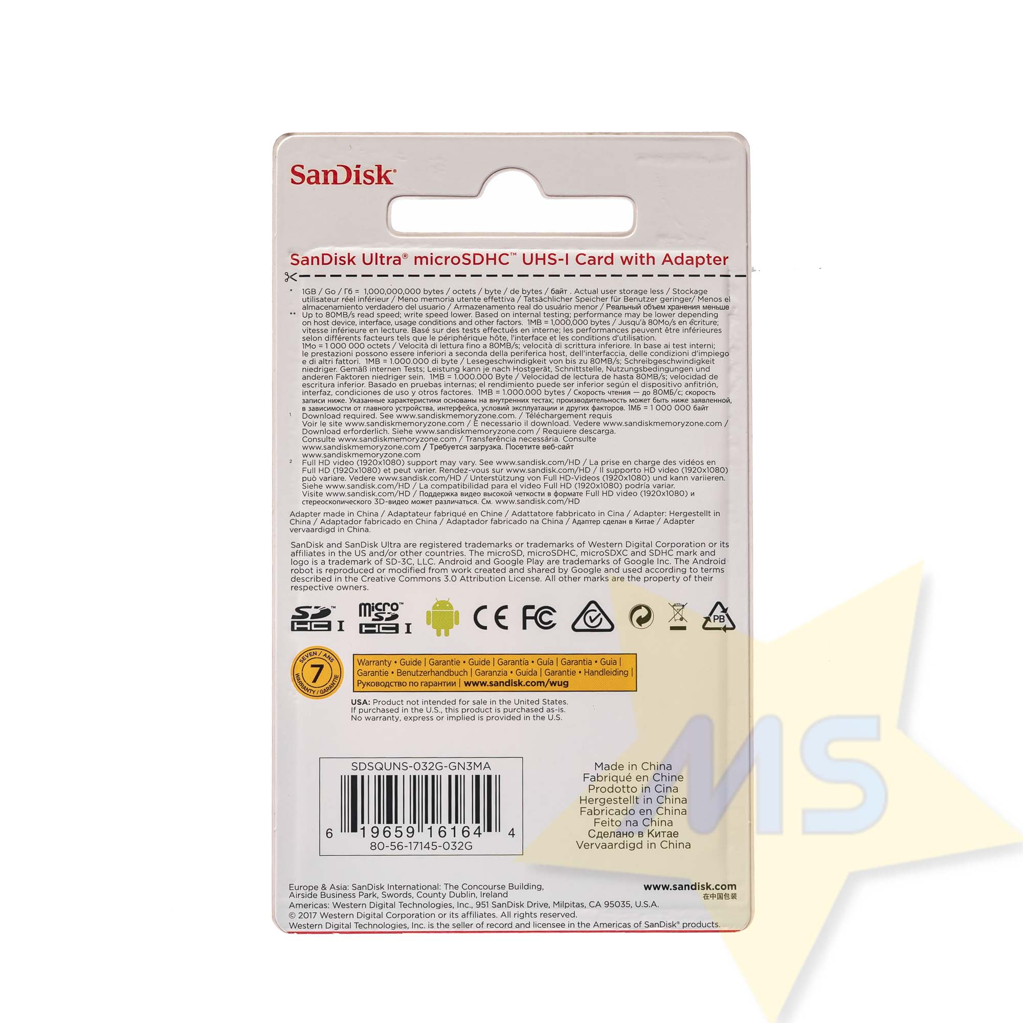 Cartão Micro Sdhc 32gb Ultra Sd Sandisk Classe 10