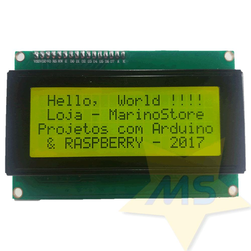 Display LCD amarelo 2004 20x4  I2C