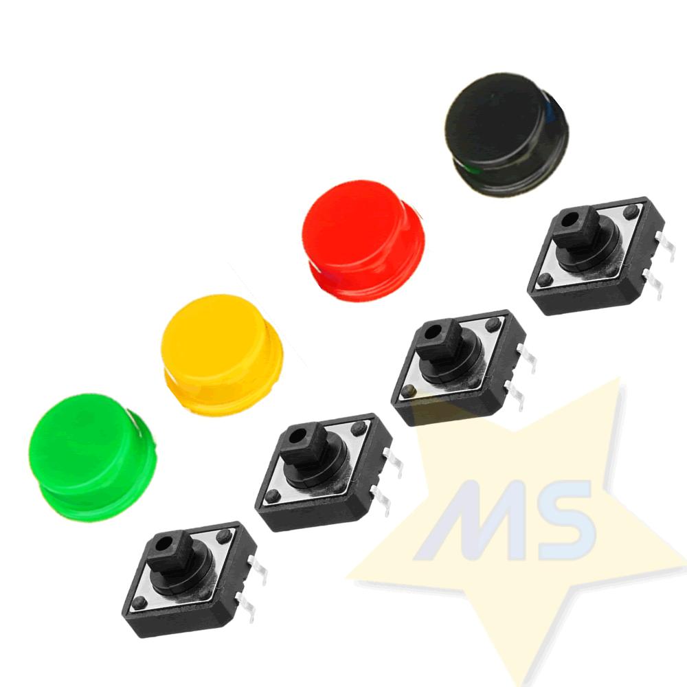Kit Chave Táctil Push Button com Capas 4 Unidades