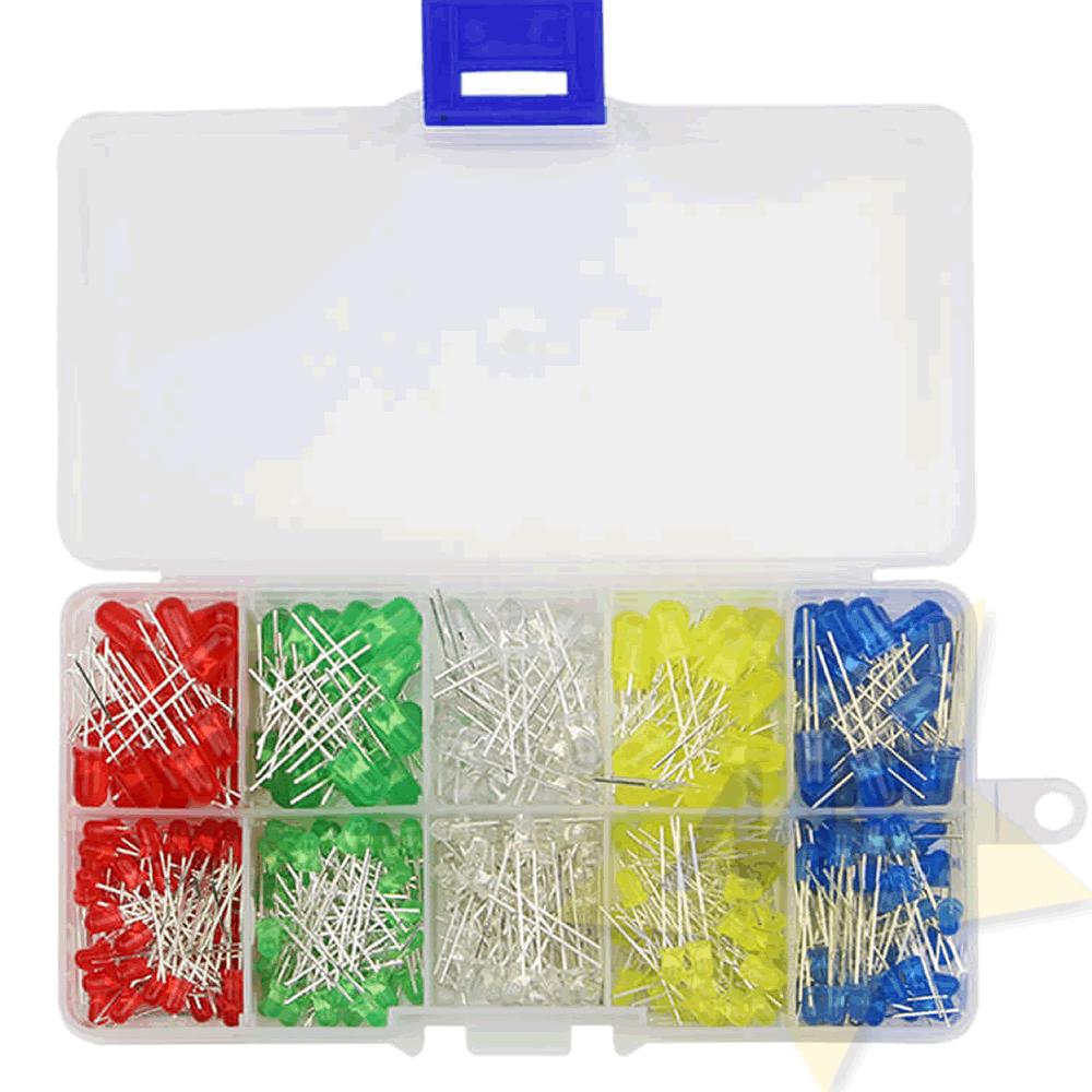 Kit LED 3mm 5mm x 200 unidades 5 Cores