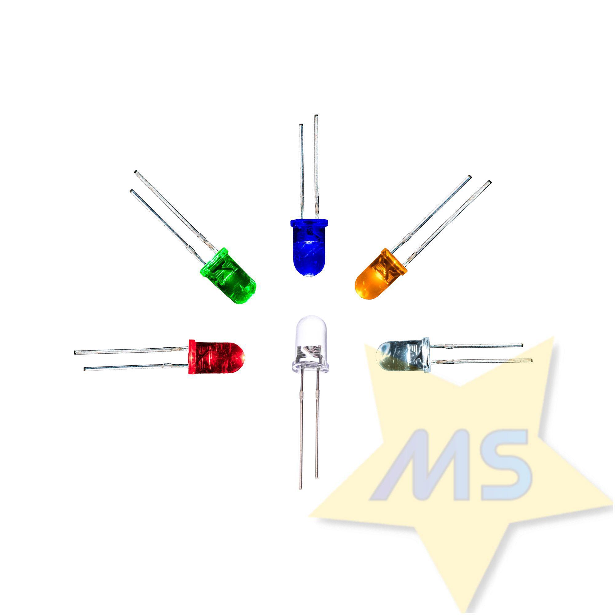 LED 3mm Vermelho Amarelo Azul Branco Verde 25pçs