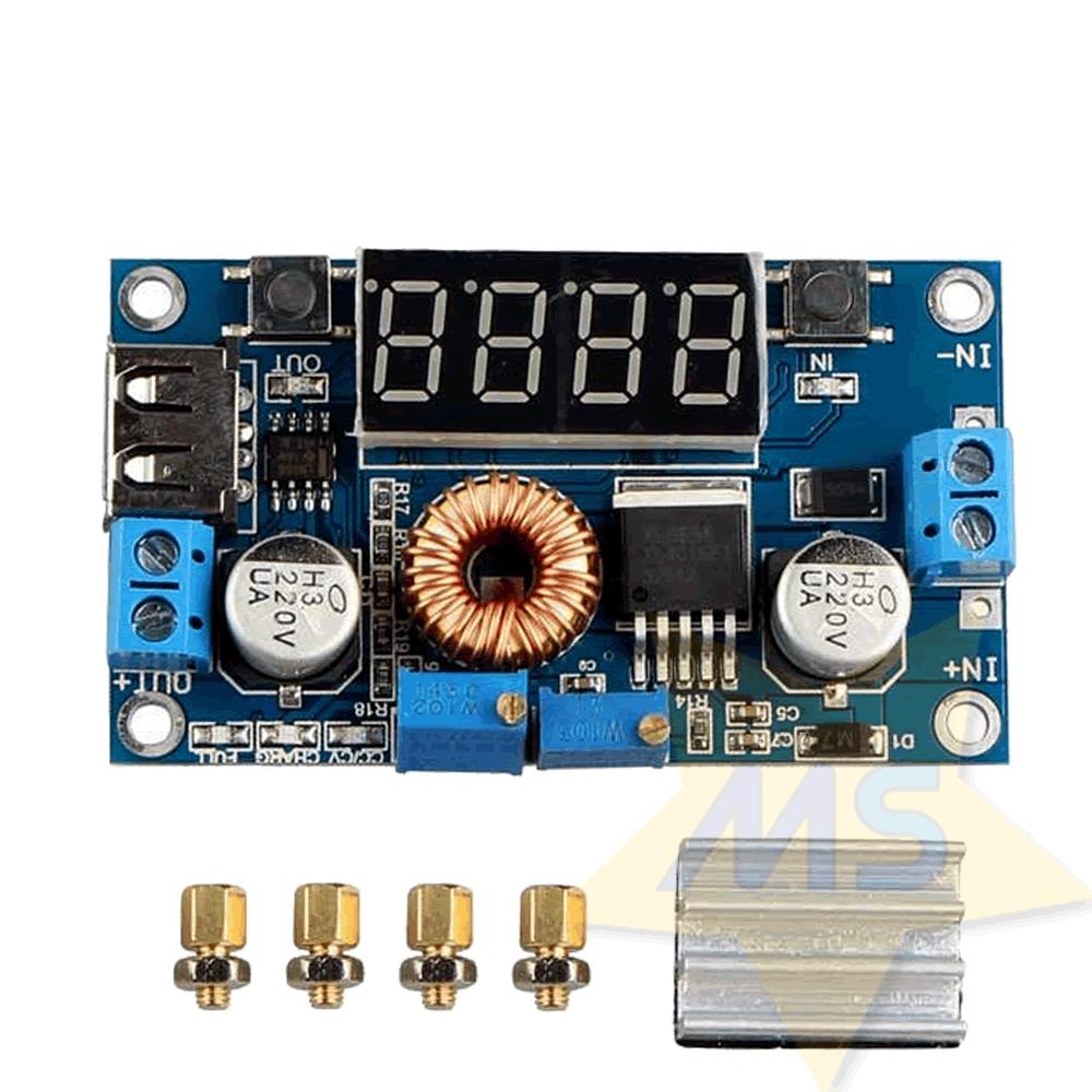 Regulador de Tensão e corrente XL4015 Step-Down 5A com Display e saída USB